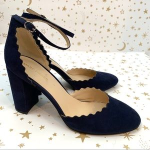 Marc Fisher   Sarah Navy Scalloped Suede Pump 10
